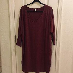 NWT Maroon Cocoon Long-Sleeve Sweater Dress